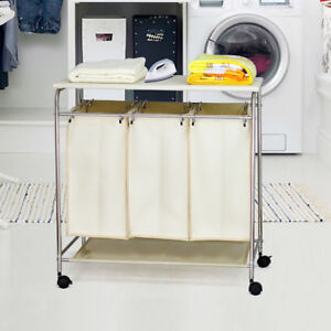 Laundry-Hamper-3-Washing-Basket-Bag-Sort-Ironing-Board-Trolley-Clothes-Grey-amp-CR