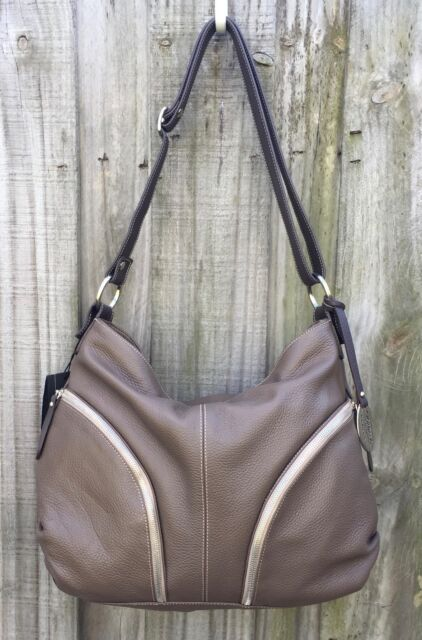 61b945c6bd45 Italian Leather Made In Italy Giordano Taupe Brown Hobo Handbag Shoulder Bag