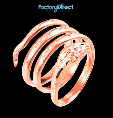 14K Rose Gold Snake Coiled Ring 19 mm Long