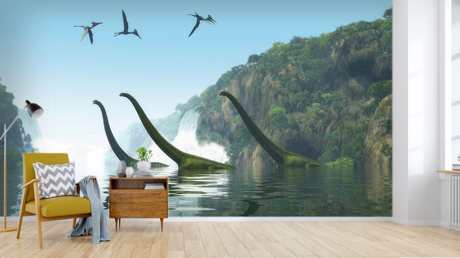 3D Dinosaur River Forest 3 Wallpaper Mural Print Wall Indoor Wallpaper Murals UK