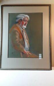 Vintage Western John Hugh's Portrait Original Pastel Charcoal Signed Esme  28x36