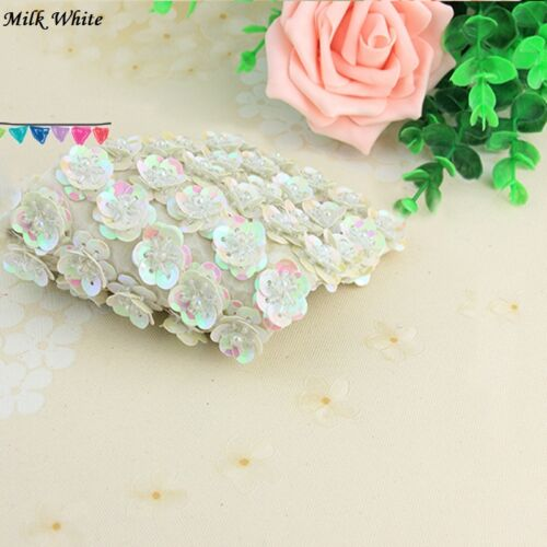 10x Bling Sequin Bead Flower Sew On Applique Patch Costume Accessory Handmade