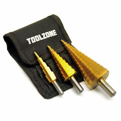 Step Drill Cone Cutter Set 3pc HSS 4-32mm UK