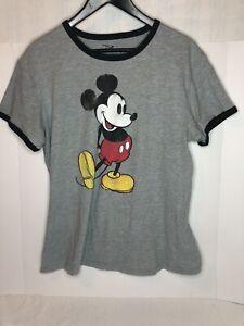 Disney-Mickey-Mouse-para-mujer-gris-ringer-t-shirt-Sz-XL-Aspecto-Retro