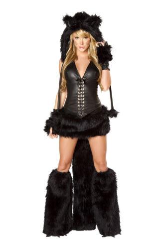 J Valentine Black Cat Halter Corset /& Skirt w// Faux Fur Tail Costume CS118 SALE