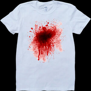 halloween blood stains on white custom made t shirt ebay