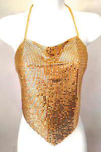24de2e6265bab women Metal Mesh Halter Clubwear top chain lingerie Rave white red ...