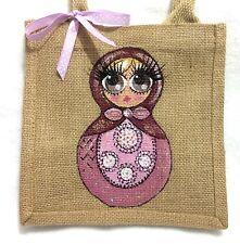 Personalised Handpainted Mini Jute Russian Doll Matryoshka Handbag Hand Bag