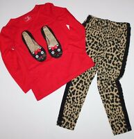 Baby Gap Girls 2t 3t 4t 5t Outfit Cat Shoes Glittered Top + Leopard Leggings