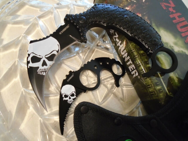 Z-Hunter Double White Skull Karambit Dagger Claw Knife/Knives 2 Pc Set Full Tang