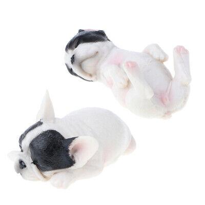 2pcs Cute Sleeping French Bulldog Animal Model Puppy Dog Pet Figure Kid Toy