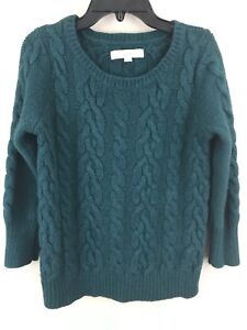 Ann Taylor Loft Sweater Womens Size Small Green Cable Knit 34