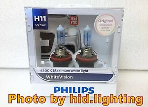 genuine philips whitevision white vision h11 4300k headlight 12362 whv light ebay. Black Bedroom Furniture Sets. Home Design Ideas