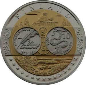 R1339 Medal Finland 10 Euros Elias Lönnrot 2002 Silver 999% PF Proof BE -> Offer