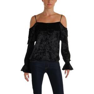 Aqua-Womens-Black-Velvet-Cold-Shoulder-Pullover-Top-Shirt-XS-BHFO-0210