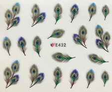 Nail Art 3D Decal Stickers Pretty Peacock Feathers E423