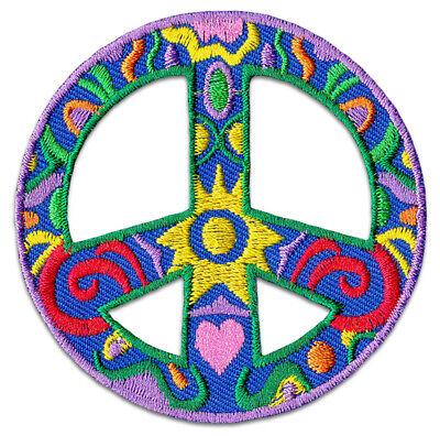 Peace Frieden FlowerPower Aufnäher // Bügelbild gelb 7 x 7 cm