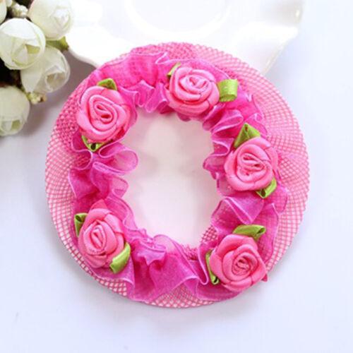 Cute Girls/' Flower Bun Hair Nets for Dancersr Kids/' Hair Accessories Dancewear