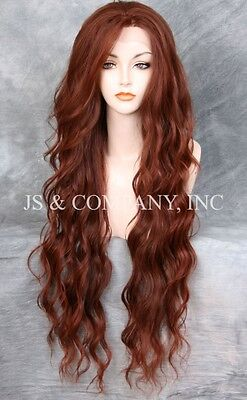 """EXTRA long 32"""" Lace Front Wig HEAT SAFE Auburn Red Mix Wavy JSTA 33-130"""