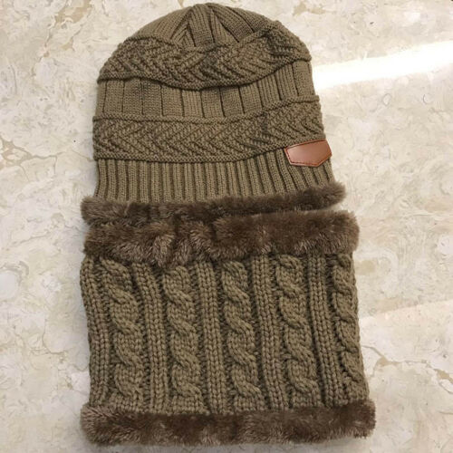 Kids Boys Winter Hat and Scarf Set Warm Knit Fleece Beanie Cap And Circle Scarf