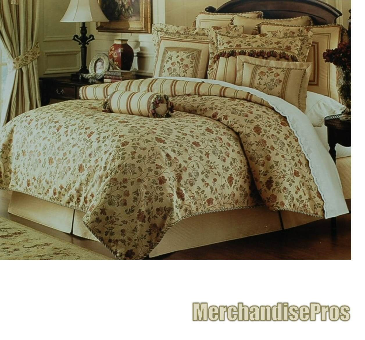 4 PC WATERFORD LINENS 'TIERNEY' CALIFORNIA CAL KING COMFORTER SET 110x96  NEW