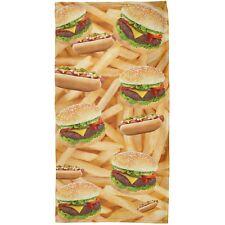 Hamburger And Hot Dog All Over Plush Beach Towel