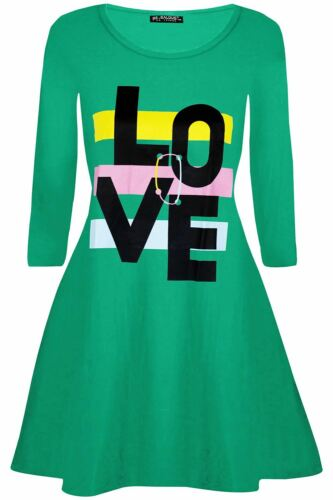 Womens Ladies Joint Love With Stripes Valentines Long Sleeve Flared Swing Dress