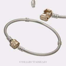 "Authentic Pandora Silver & 14K Gold Pandora Lock Bracelet 7.5"" 590702HG-19"