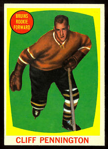 1961-62-TOPPS-HOCKEY-19-CLIFF-PENNINGTON-RC-EX-NM-Boston-Bruins-Rookie-card