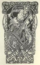 Drache Exlibris JOSÉ TRIADO / Conrotte Art Nouveau St George & Dragon Bookplate