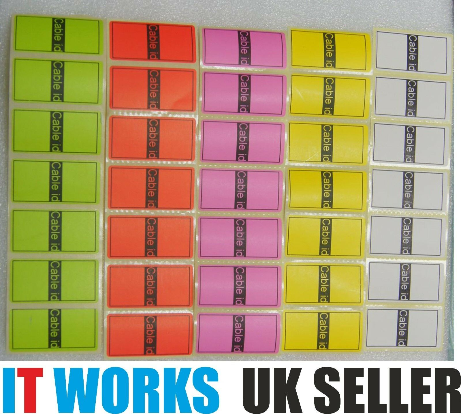 5 Colours = 35 Cable id Tidy Stickers Self Adhesive Sticky Identification Labels