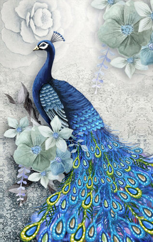Modern Art Wall Home Decor Abstract Feng Shui Peacock painting Printed Canvas 03