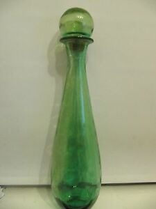 Vintage Spray Painted Light Green Large Glass Bottle 19 Lots Wear On Paint Ebay