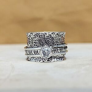 Crystal-Solid-925-Sterling-Silver-Spinner-Ring-Meditation-Statement-Jewelry-A260