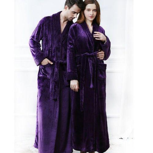 Mens Women Winter Long Pajama Sleepwear Night-robe Soft Robe Bathrobe Zsell
