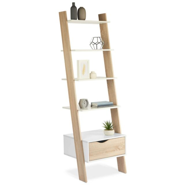 the latest 4609b 09fdb VonHaus Ladder Bookcase Scandinavian Nordic White and Light Oak Effect  Bookshelf