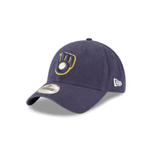 e335375d1d39e Milwaukee Brewers New Era Blue Core Classic 9Twenty Adjustable Dad ...