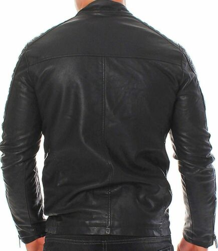12e7783620ca Mens Club Biker Black Vintage Leather Retro Jacket Real Fit Motorcykel Slim  UpUgqnATxr