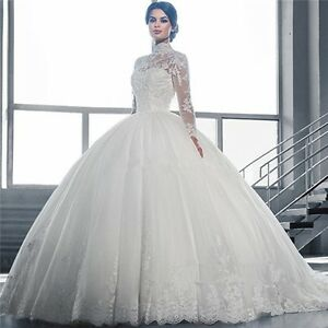 Image Is Loading Luxury Bridal Gowns High Neck Long Sleeve Lace