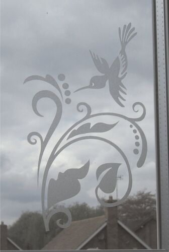 Hummingbird Leaf Berry Scroll Frost Etch Stained Glass Effect Window Sticker