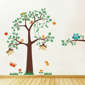 Image Is Loading Wall Stickers Tree Kids Nursery Animals Wall Art