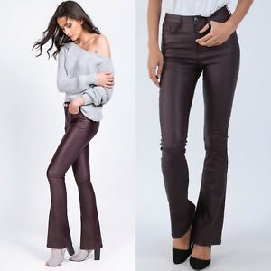 Women-039-s-Bootcut-wet-leather-look-stretch-Trousers-mid-rise-Jeans-Dark-Red