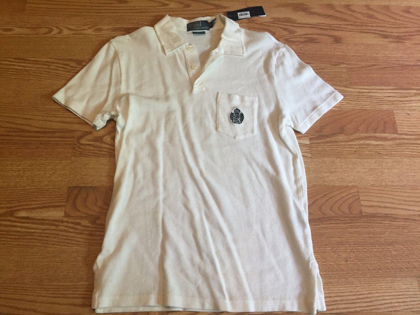 Polo Ralph Lauren white rare vintage crest rugby uniform shirt linen S XL XXL
