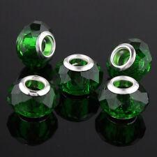 20X Emerald Facet Crystal Glass Big Hole Beads Fit European Charm Bracelet