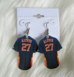on sale 94db8 c0b39 Details about HANDMADE PLASTIC HOUSTON ASTROS Blue Jose Altuve JERSEY  EARRINGS!!!!! Go ASTROS!