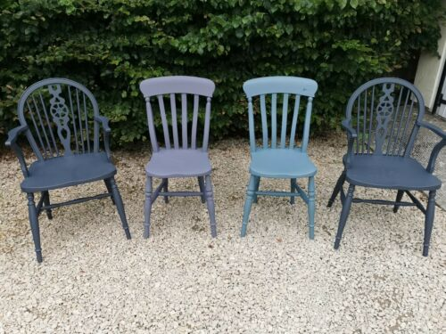 X4 MULTI COLOURED HAND PAINTED SOLID OAK FARMHOUSE DINING CHAIRS