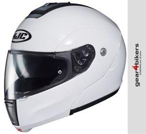 HJC-C90-Solid-Gloss-White-Modular-Motorcycle-Helmet-Flip-Up-Front-System-Plain
