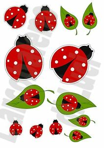 coccinelle 13 autocollants r sistant l 39 eau ladybird stickers tuning voiture ebay. Black Bedroom Furniture Sets. Home Design Ideas