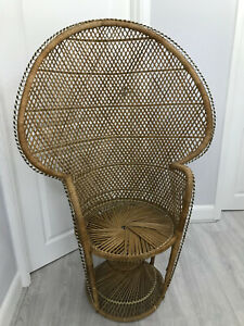 Genuine Vintage 60s Wicker Peacock Chair Boho Throne Full Size Adult Chair