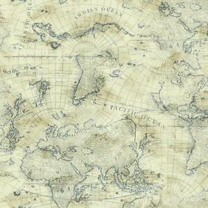 Image is loading Nautical-Blue-World-Map-on-Cream-Sure-Strip-